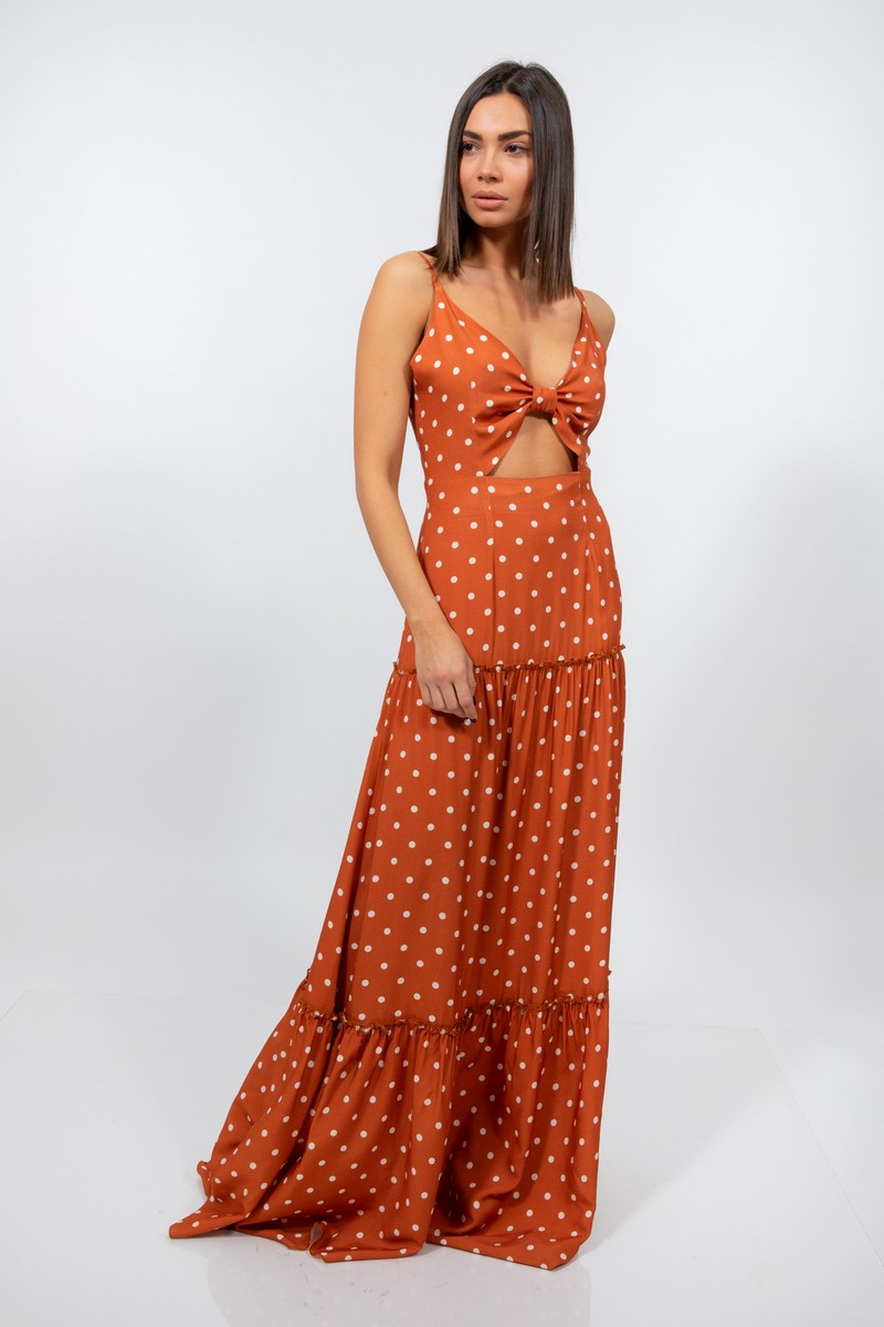 0bd986d5da3 Φόρεμα maxi πουά
